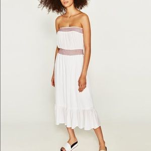 NWT ZARA TUBE DRESS WITH CONTRASTING EMBROIDERY
